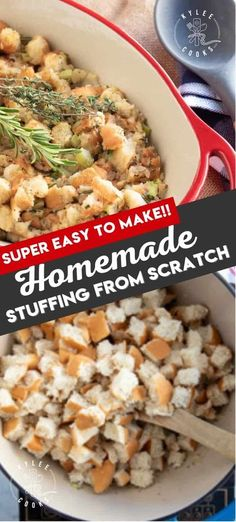 This super easy stuffing recipe combines bread, onions, celery, fresh herbs, and stock and is SUPER delicious! Skip the box, make your own!