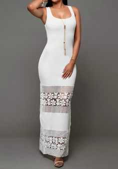 White Patchwork Hollow-out Lace U-neck Fashion Maxi Dress