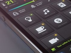 Home Control - iOS layout design buttons found on Dribbble.