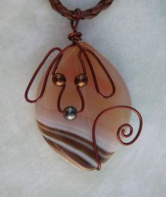Unique Brown Wire Dog on Stripped Agate Pendant by jillmh123, $12.50