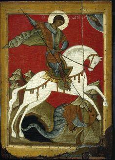 Икона Чудо святого Георгия о змие. Вторая четверть XV века. Новгород