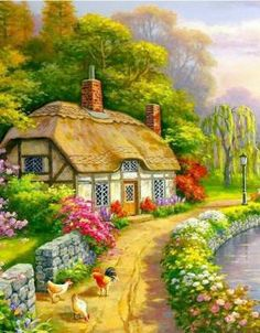 Cuadros in 2019 _ Landscape paintings, Landscape art, Cottage art pieces) Beautiful Nature Wallpaper, Beautiful Paintings, Beautiful Landscapes, Beautiful Gardens, Landscape Art, Landscape Paintings, Watercolor Paintings, Kinkade Paintings, Scenery Paintings