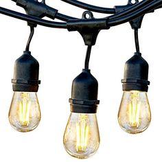 11//20m LED Outdoor Festoon String Lights with 2W Edison Bulb Weatherproof Strand