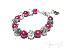 Pink Pearl Crystal Bracelet Little Girl Kids by ElwynJewelry
