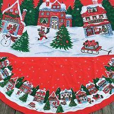 Red Christmas Tablecloth Snow Village Scene Shops Houses Tree Bakery Toys   eBay