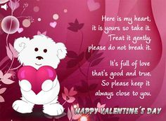 """Cute Valentine's Day Card Sayings Roses Are """"Red for Lovers"""" & Boyfriend Long Distance - Happy Valentines Day 2018 Quotes Wishes Greetings Messages Sms Sayings Images Cards Pictures Poems Valentines Day Sayings, Valentines Card Message, Valentines Day Bears, Happy Valentines Day Wishes, Valentine Cards, Valentine's Day Quotes, Dream Quotes, Life Quotes, Diwali Wishes Quotes"""