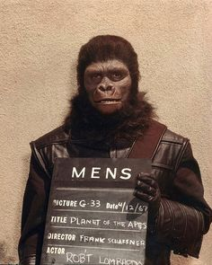 "Gorilla make-up and costume test for ""Planet of the Apes"" 04-12-1967 via William Forsche. ( Retro Sci Fi / 70's Film / Movie Cinema / Make Up )"