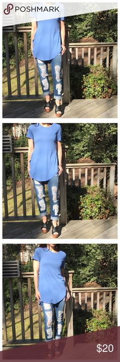 🆕 denim blue tunic Side split high low denim blue tunic PLEASE Use the Poshmark new option you can purchase and it will give you the option to pick the size you want ( all sizes are available) BUNDLE and save 10% ( no trades price is firm unless bundled) Tops Tunics