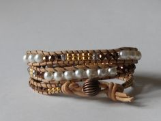 Gold crystal and pearl triple leather wrap by SunshinesPush, $34.00
