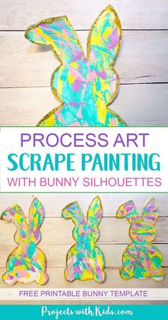 Scrape painting is a super fun process art activity that kids will love! Use beautiful spring colors to make these bunny silhouettes that are the perfect art project for spring or Easter. Edge them in gold glitter for an extra special touch! A great project for preschool aged kids and beyond. Free printable bunny template included. #easter #easterart #processart #artprojectsforkids #projectswithkids