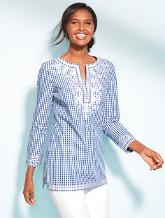 Our go-to gingham tunic is instantly refreshed, thanks to some ladylike detailing and intricate embroidery. Perfect for layering over white denim. | Talbots