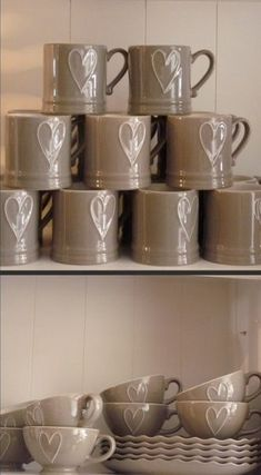 Taupe Mugs, Cups and Plates -  Neutral Colors