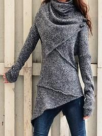 Sammero Long Sleeve 1 Grey Red Blue Black Brown Women Tops Casual Turtleneck Cotton-Blend Going Out Tops – sammero Casual Sweaters, Sweaters For Women, Cardigans, Winter Sweaters, Plus Size Outerwear, Asymmetrical Sweater, Casual Tops For Women, Women's Casual, Casual Fall