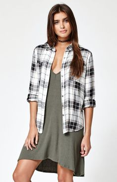 Hooked on Button-Down Plaid Flannel Shirt that I found on the PacSun App
