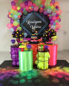 Most Popular Sweet 16 Party Themes For Girls Simple Ideas Neon Birthday, Girl Birthday Themes, 18th Birthday Party, Sweet 16 Party Themes, Sweet 16 Parties, Glow Party Decorations, Birthday Decorations, Glow In Dark Party, Quinceanera