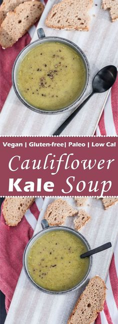 Healthy, Low cal & fat Cauliflower Kale Soup Recipe! Really easy to make, Vegan, Gluten-free, Paleo.and super tasty! Only 36 calories in 1 cup! | VeganFamilyRecipes.com | #vegan #gf #health #recipes #side dish #soups