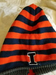 innovative design dab29 0147f University of Illinois Fighting Illini Knit Beanie Winter Hat NEW -  Reversible  ZooZatz  IllinoisFightingIllini