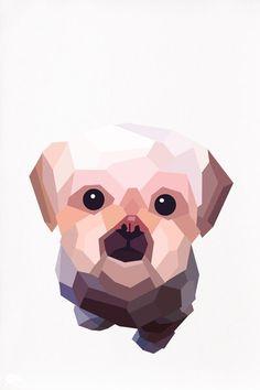 Custom pet portrait, Geometric illustration, Dog portrait, Animal print, Original illustration, Custom order