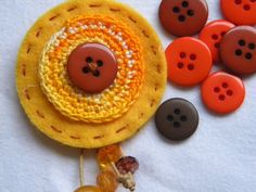 Necklace i made with felt and crochet and some beads