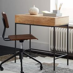 In between dresser and bed - acts as a nightstand - Industrial Storage Mini Desk #westelm