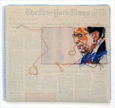 Hand-Embroidered Issues of The New York Times by Lauren DiCioccio
