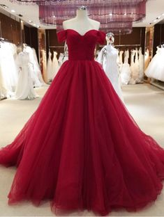 Wine Red Off Shoulder Princess Prom Gowns, Tulle