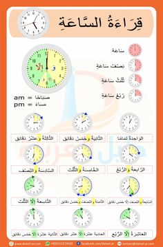 Course: Miscellaneous topics , Section: Telling the Time (What Time?) in Arabic Arabic Alphabet Letters, Arabic Alphabet For Kids, Learn Arabic Online, Funny Quotes For Instagram, Arabic Lessons, English Language Learning, Learn English Words, Learning Arabic, Math For Kids