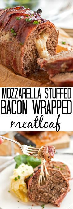 This homemade meatloaf is stuffed with mozzarella cheese and wrapped in bacon! Adapted from The Pioneer Woman.