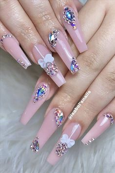Natural acrylic rhinestone coffin nails design you cannot miss - Abby FASHION STYLE Creative Nail Designs, Beautiful Nail Designs, Creative Nails, Nail Art Designs, Coffin Nails Ombre, Matte Nails, Pink Coffin, Dark Nails, Rhinestone Nails