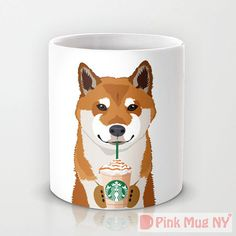 Personalized mug cup designed PinkMugNY - I love Starbucks - Shiba Inu - Black Hokkaido Dog, Chibi Dog, Golden Retriever Art, Japanese Spitz, Animal Mugs, Personalized Cups, Cup Design, Shiba Inu, Akita