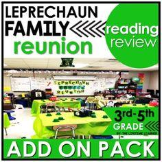 You are in LUCK with this cool reading classroom transformation ADD ON PACK! You are now attending a Leprechaun Family Reunion and will complete tasks for each leprechaun that is there. Use this fun St. Patrick's Day themed pack of reading skills to spiral review other skills during your room transf...