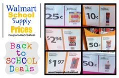 2012 Walmart School Supply Price List: Save Money With This List.  Know what prices you will be paying for school supplies before you head out the door.