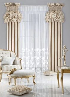 Inspiring recommendations that we really love! Curtain Designs For Bedroom, Window Curtain Designs, Curtain Styles, Luxury Curtains, Drapes Curtains, Valances, Balloon Curtains, Rideaux Design, Living Room Decor Curtains