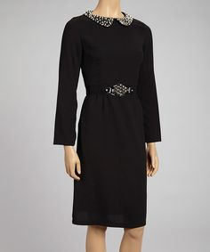Take a look at this Nancy Yang Black Peter Pan Collar Belted Dress on zulily today!