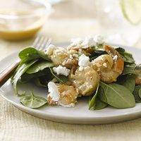 Spinach Salad with Shrimp and Feta - Rachael Ray Every Day 12 Guilt Free Low Carb Salad Ideas Best Salad Recipes, Lunch Recipes, Whole Food Recipes, Cooking Recipes, Healthy Recipes, Keto Recipes, Caprese Salad Recipe, Feta Salad, Shrimp Salad