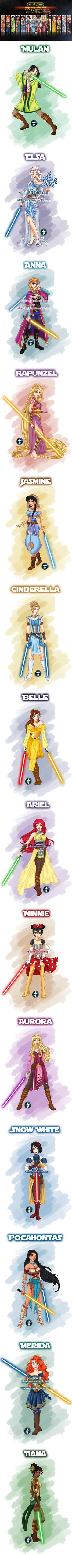 What if Disney Princesses were Star Wars Jedis (by White-Magician) - Disney princess Disney Marvel, Disney Star Wars, Disney And Dreamworks, Disney Pixar, Walt Disney, Disney Characters, Cute Disney, Disney Girls, Funny Disney