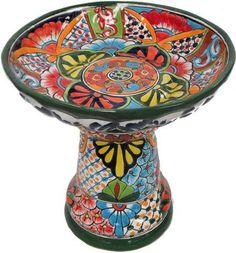 Colorful painted Talavera bird bath <3