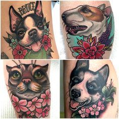 Paws Buzz Go has compiled a killer list of tattooers from all over the globe, who will make your pet tattoo dreams come true! Dog Tattoos, Cat Tattoo, Body Art Tattoos, Sleeve Tattoos, Mirror Tattoos, Book Tattoo, Bullterrier Tattoo, Dog Portrait Tattoo, Animals Tattoo