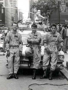 Bill Murray, Dan Aykroyd, and Harold Ramison the set of Ghostbusters, 1984.