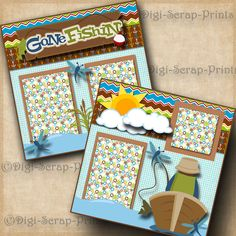 GONE FISHING 2 premade SCRAPBOOK pages paper piecing layout boy girl ~ DIGISCRAP | Crafts, Scrapbooking & Paper Crafts, Pre-Made Pages & Pieces | eBay!