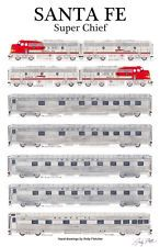 Santa Fe Super Chief Railroad Poster by Andy Fletcher signed Rail Train, Train Art, Lego Trains, Old Trains, Usa Rail, Train Drawing, Bnsf Railway, Train Posters, Railroad History