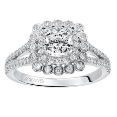 Contemporary prong and bezel set double halo cushion shape diamond engagement ring with split shank with diamond accents by ArtCarved Bridal. Split Shank Engagement Rings, Diamond Engagement Rings, Contemporary, Accessories, Cushion, Jewelry, Shape, Bridal, Jewlery