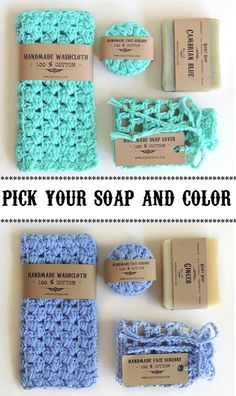 Christmas gift - Stocking stuffer soap, Natural Handmade soap, Washcloth, Soap saver, Pick you own Color
