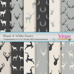 Black & White Deers, Digital Paper,Christmas,Deer,Antlers,Scrapbooking, Paper, 12x12, Printable, Pattern, Wild, Animal, Background, Download by Selegan on Etsy