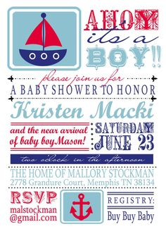 Nautical Baby Shower Invitation  digital by EveryMakingMoment, $15.00