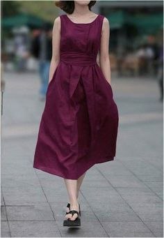 Red Blue Color Sleeveless Cotton Fabric Belted Dress for Women Casual Dresses Plus Size, Elegant Dresses For Women, Summer Dresses For Women, Fall Dresses, Vestido Casual, Latest Street Fashion, Belted Dress, Skater Dress, Violet