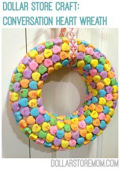 Dollar Store Craft: Conversation Heart Wreath for Valentine's Day