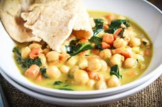 Coconut curried chickpea soup.  I made this for dinner tonight and my husband RAVED about it.  He wants it every night for the rest of them month! lol  I subbed frozen chopped spinach for the collard greens and made up my own garam masala with random spices.