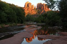 Cathedral Rock and Oak Creek sunset, Sedona, Arizona, USA