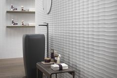 The three-dimensional wall ceramics reflect the natural play of wind on sand, creating a delicately harmonious effect. By ATLAS CONCORDE. Furnishings, 3d Wall Tiles, House Design, Wall Decor, Tiles, Interior, Dimensional Wall, Wall Tiles, Wall Design